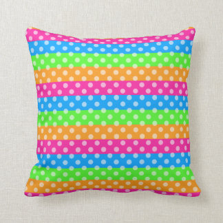 Fluorescent Rainbow with Polka Dots Throw Pillow