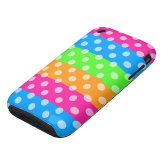 Fluorescent Rainbow with Polka Dots Tough iPhone 3 Case