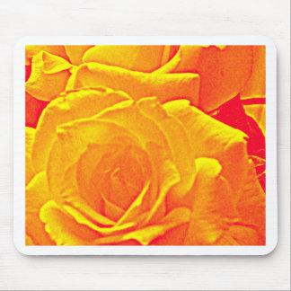 fluorescent rose orange mouse pad