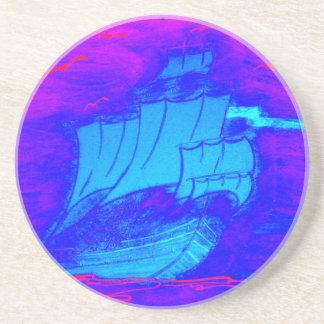 fluorescent sailboat 1 coaster