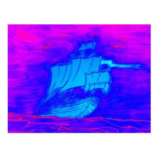 fluorescent sailboat 1 postcard
