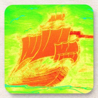 fluorescent sailboat drink coaster