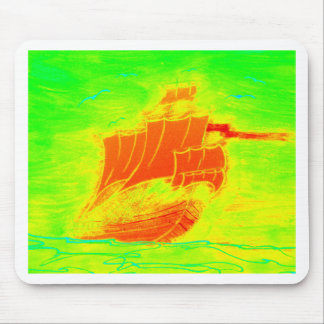 fluorescent sailboat mouse pad