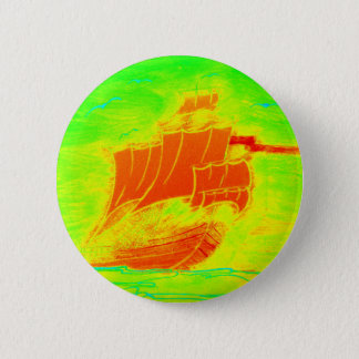 fluorescent sailboat pinback button
