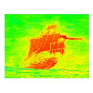 fluorescent sailboat postcard