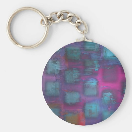 Fluorescent squares in purple and blue pattern keychain