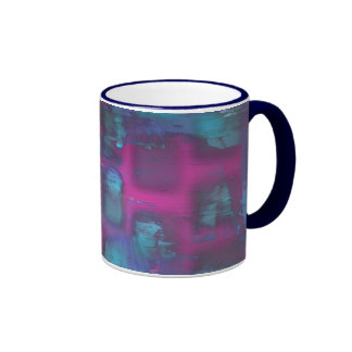 Fluorescent squares in purple and blue pattern ringer coffee mug