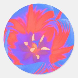 Fluorescent Tulip Sticker Round Sticker