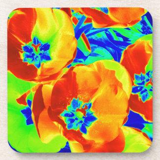 fluorescent tulips coaster