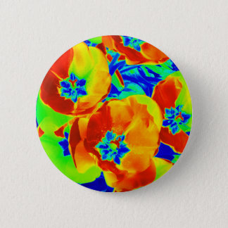 fluorescent tulips pinback button