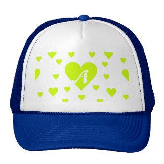 Fluorescent Yellow and White Hearts Monogram Trucker Hat