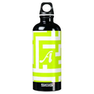 Fluorescent Yellow and White Maze Monogram Aluminum Water Bottle