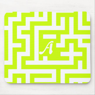 Fluorescent Yellow and White Maze Monogram Mouse Pad