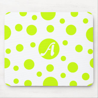 Fluorescent Yellow and White Polka Dots Monogram Mouse Pad
