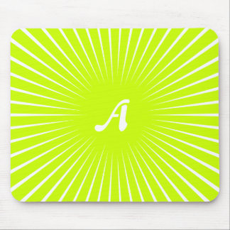 Fluorescent Yellow and White Sunrays Monogram Mouse Pads