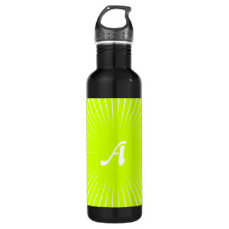 Fluorescent Yellow and White Sunrays Monogram Stainless Steel Water Bottle