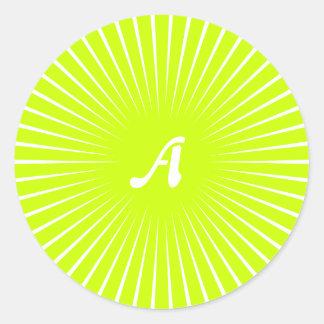 Fluorescent Yellow and White Sunrays Monogram Round Stickers