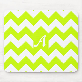 Fluorescent Yellow and White Zigzag Monogram Mousepad