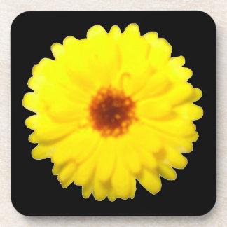 Fluorescent Yellow Marigold Cork Coaster