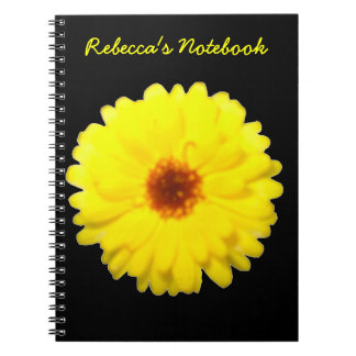 Fluorescent Yellow Marigold Customizable Notebook