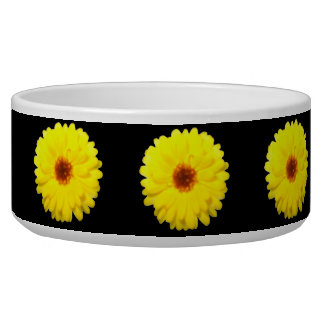 Fluorescent Yellow Marigold Dog Bowl