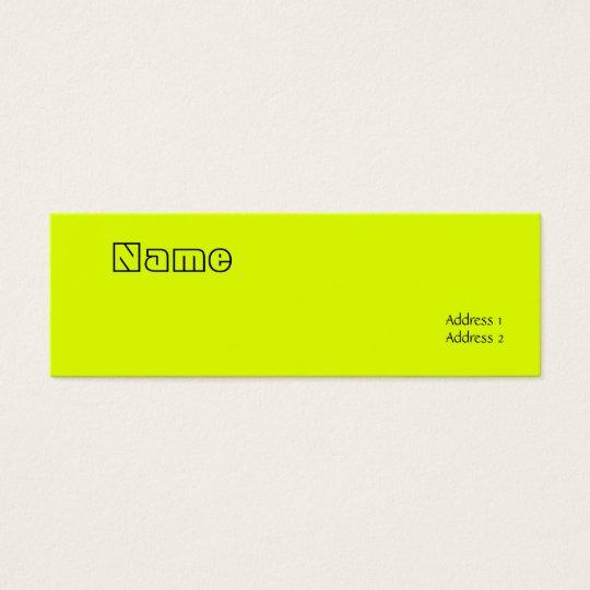 fluorescent yellow mini business card