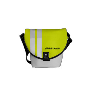 Fluorescent Yellow/White Racing Stripe Courier Bag