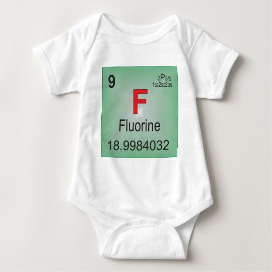Fluorine Individual Element of the Periodic Table Baby Bodysuit