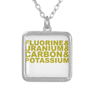 Fluorine Uranium Carbon Potassium Tshirt.png Square Pendant Necklace