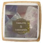 Fluorite Gemstone Personalized Wedding Square Shortbread Cookie