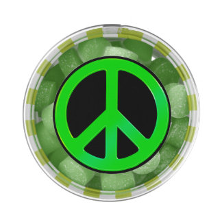 Fluoro Green Peace Symbol for World Peace Chewing Gum Favors