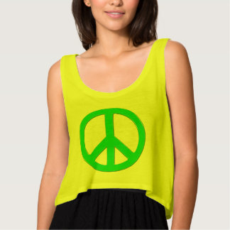 Fluoro Green Peace Symbol for World Peace Flowy Crop Tank Top