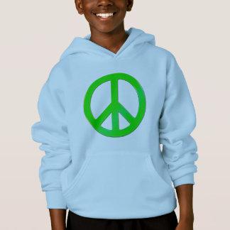Fluoro Green Peace Symbol - No More War! Hoodie