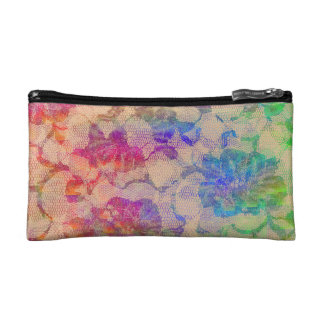 Fluoro Lace Roses Cosmetic Bag