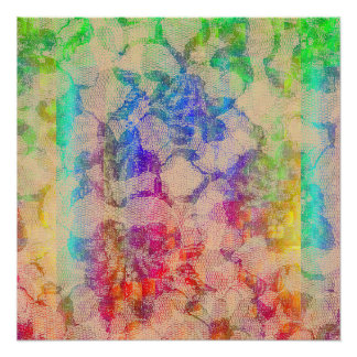 Fluoro Lace Roses Poster