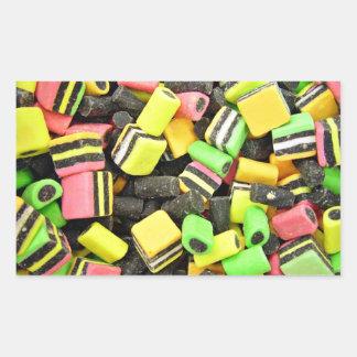 Fluro-coloured liquorice rectangular sticker