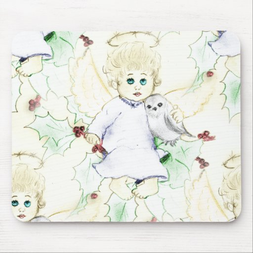 Flurry of Little Christmas Angels Mousepads