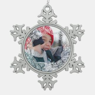 Flurry Snowflake Pewter Christmas Ornament