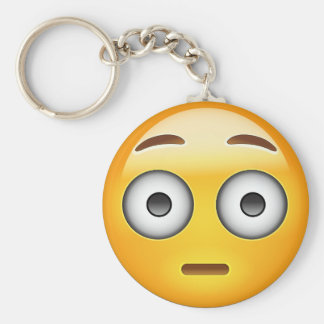 Flushed Face Emoji Basic Round Button Keychain