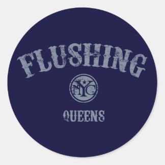 Flushing Round Sticker