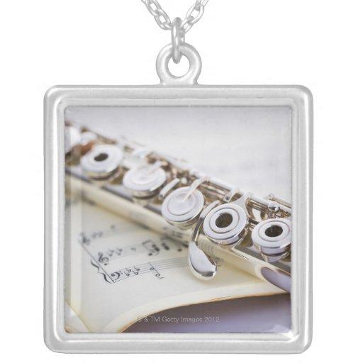 Flute 2 square pendant necklace