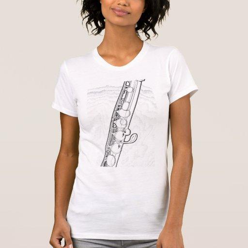 Flute Black Ink Line Drawing Shirt