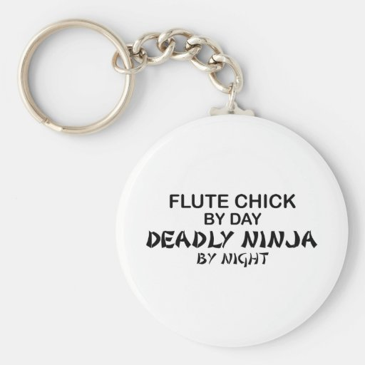 Flute Chick Deadly Ninja by Night Key Chain