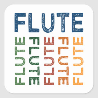 Flute Colorful Square Sticker