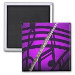 Flute Flutist Musician Square Magnet