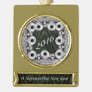 Flute Frame Custom Noteworthy New Year Gold Plated Banner Ornament