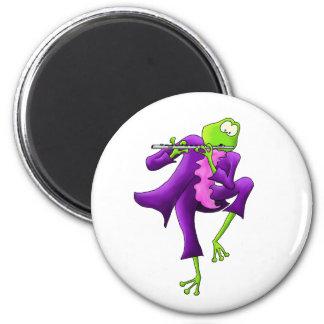 Flute Frog 2 Inch Round Magnet