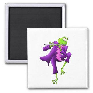 Flute Frog 2 Inch Square Magnet