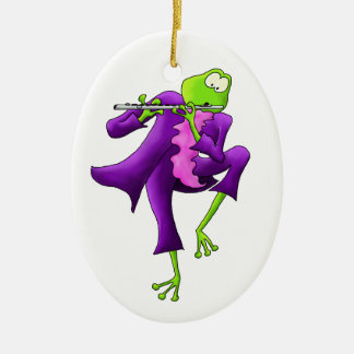 Flute Frog Oval Ornament