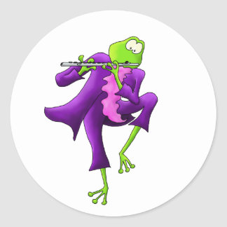 Flute Frog Classic Round Sticker